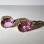 Pair Of 9ct Yellow Gold Pink Glass Earrings