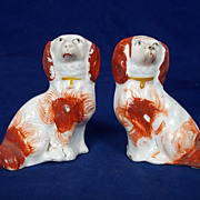 Pair of Victorian Miniature Staffordshire Red & White Spaniels