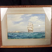 Frederick James Aldridge (British, 1850-1933) – Clipper Off The Needles – Framed Watercolour