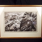 The Onslaught – Framed Watercolour By George Soper (British, 1870-1942)
