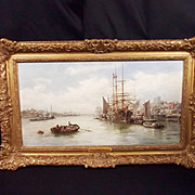 William Edward Webb (1862-1903) Framed Oil On Board - Peel Harbour, Isle of Man