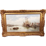 William Edward Webb (1862-1903) Framed Oil On Board - Peel Harbour, Isle of Man