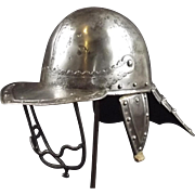 English Civil War Mid 17th Century 3 Bar Lobster Tailed Pot Helmet