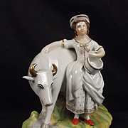 Victorian Circa 1850 Thomas Parr Staffordshire Milk Maid & Cow Figure