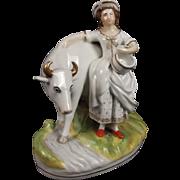Victorian Circa 1850 Thomas Parr Staffordshire Milk Maid & Cow Figure