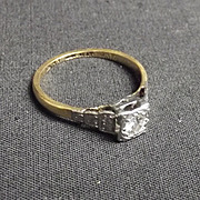 18Ct Gold And 0.25 Carat Diamond Pave Step Ring, Size N UK 6 ½ US
