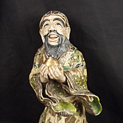 Meiji Period Japanese Satsuma Priest Pottery Figure
