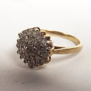 9ct Yellow Gold 37 Stone Diamond Cluster Ring UK Size US O US Size 7 ¼