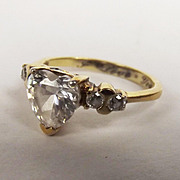 9t Yellow Gold Cubic Zirconia Heart Shape Ring UK Size O ½ US 7 ½