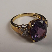 9 Ct Gold Purple Sapphire And Diamond Ring Size N US Size 6 ¾