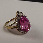 9Ct Gold Ring With A Teardrop Pink Ruby UK Size M US Size 6