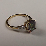 9Ct Gold Ring With Topaz And Diamond Size M US Size 6