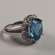 9Ct White Gold Ring With Blue Topaz And Diamonds UK Size L US Size 5 ½