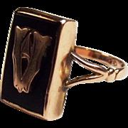 9ct Gold Enamel Ring UK Size O US 7 1/3