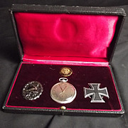 Zeppelin Cased WW1 German Medal Set And Watch With Descriptive Inscription