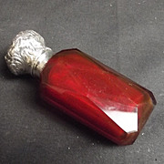 19th Century Ruby Glass Scent Bottle With Silver Cap