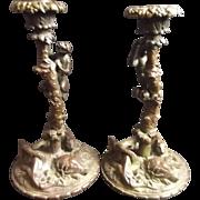 Circa 1850 Finely Cast Bronze Candlesticks