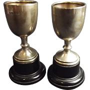 Set Of Two Small Silver Trophies
