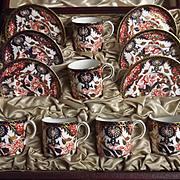 1899 Royal Crown Derby Cased Imari Coffee Set