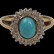 9ct Yellow Gold Turquoise & 0.25 CTW Diamond Flower Head Ring UK Size W US 11
