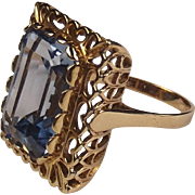 9ct Yellow Gold Topaz Ring UK Size P+ US 8