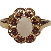 9ct Yellow Gold Opal & Garnet Flower Head Ring UK Size X+ US 11 ¾