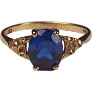9ct Yellow Gold Blue Spinel Ring UK Size S US 9
