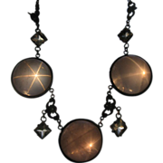Antique Star Rose Quartz Pools of Light Sterling Necklace