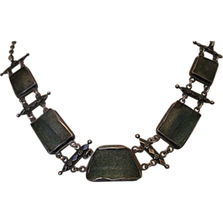 Antique Yemenite Ancient Roman Glass Sterling Silver Necklace