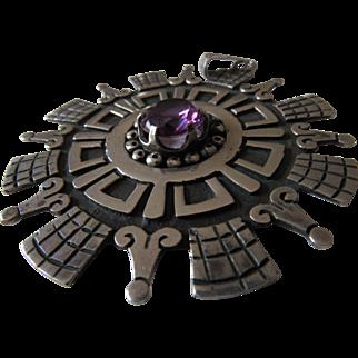 Huge Mid-Century Aztec Design Sterling Alexandrite Pendant Mexico