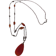 Antique Sterling Silver and Carnelian Necklace