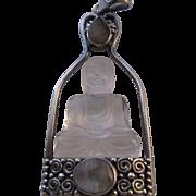 Vintage Rock Quartz Buddha Sterling Sajen Pendant