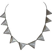 Art Deco Sterling Silver Crystal Necklace