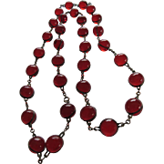 Rare Antique Cherry Bakelite Pools of Light Necklace
