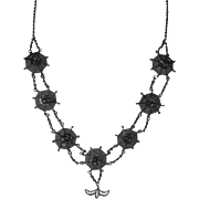 Antique Victorian Sterling Silver Spider Web Necklace