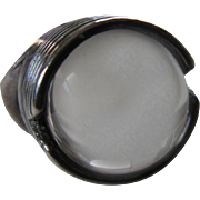 Modernist Sterling Silver Rock Quartz Orb Ring