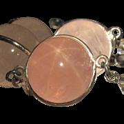 Antique Opera Length Star Rose Quartz Pools of Light Necklace