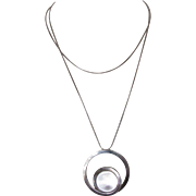 Vintage Modernist Pools of Light Sterling Necklace