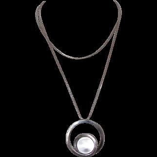 Vintage Modernist Pools of Light Sterling Necklace