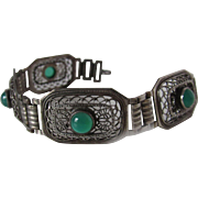 Antique Filigree Chrysoprase Bracelet