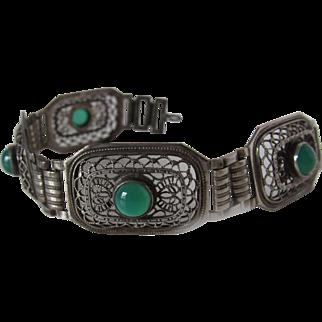 Antique Filigree Chrysoprase Bracelet