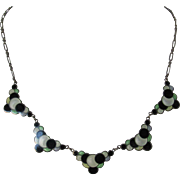 Art Deco Sterling Silver Enamel Bubble Necklace