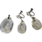 Art Deco Reverse Carved Rock Crystal Buddha Pendant and Earrings