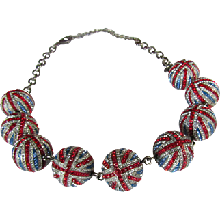 Rare Vintage Butler and Wilson Union Jack Crystal Orbs Necklace