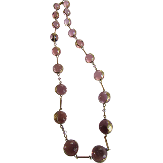Antique Pink Pools of Light Repousse Necklace