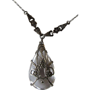 Antique Rock Quartz Pendant Necklace