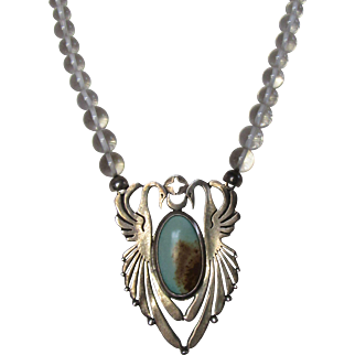 Vintage Heyoka Merrifield Rock Quartz Turquoise Sterling Silver Necklace