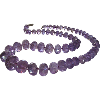 Antique Art Deco Natural Purple Amethyst Necklace