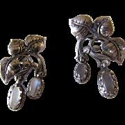 Vintage Cini Moonstone Sterling Silver Earrings