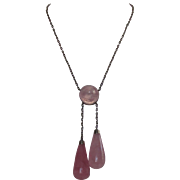 Antique Arts and Crafts Sterling Silver Rose Quartz Negligee Necklace